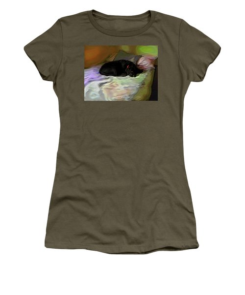 Women's T-Shirt (Junior Cut) featuring the mixed media Chopper Dreams Of Beds by Terence Morrissey