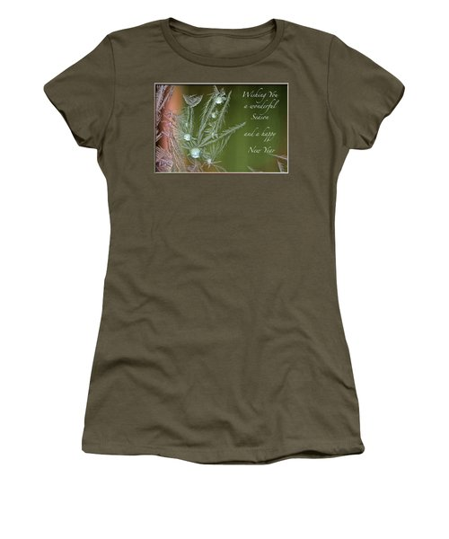 Women's T-Shirt (Junior Cut) featuring the mixed media Christmas Greeting Card Ice Flowers by Peter v Quenter