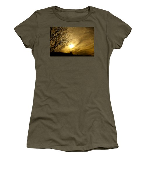 Women's T-Shirt (Junior Cut) featuring the photograph Church Steeple Clouds Parting by Jerry Cowart