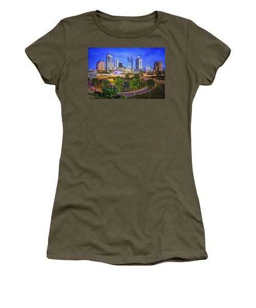 City Of Tampa At Dawn In Hdr Women's T-Shirt (Junior Cut)