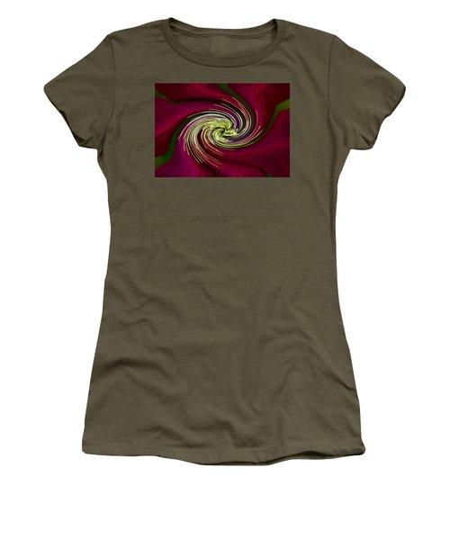 Claret Red Swirl Clematis Women's T-Shirt (Junior Cut) by Debbie Oppermann