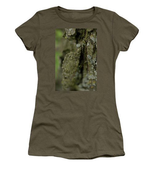 Closeup Of Bark Covered In Lichen Women's T-Shirt