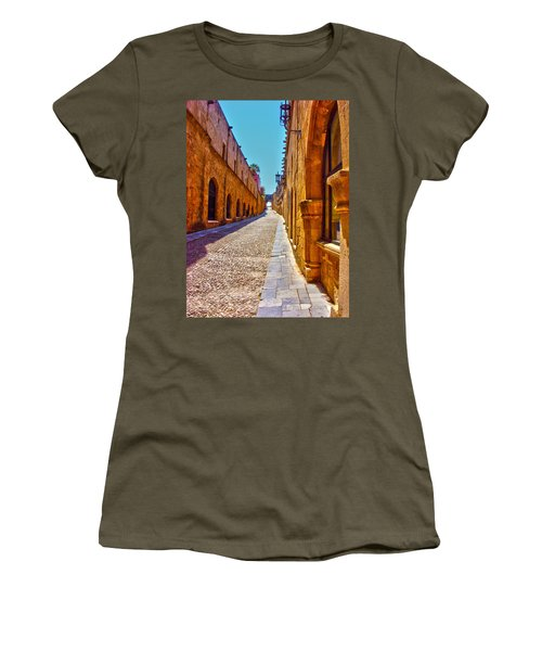 Rhodes Cobbled Street Women's T-Shirt (Athletic Fit)