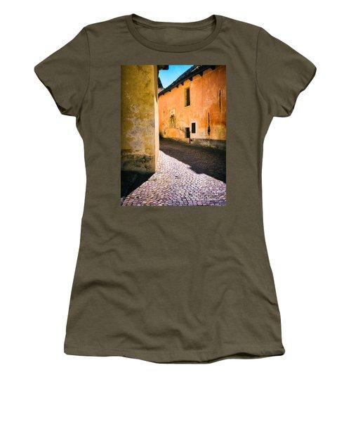 Women's T-Shirt (Junior Cut) featuring the photograph Cobbled Street by Silvia Ganora