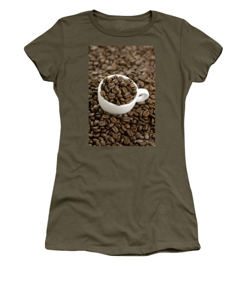 Women's T-Shirt (Junior Cut) featuring the photograph Coffe Beans And Coffee Cup by Lee Avison