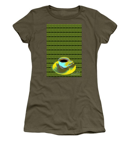Women's T-Shirt (Junior Cut) featuring the digital art Coffee Cup Pop Art by Jean luc Comperat