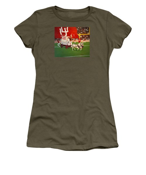Women's T-Shirt (Junior Cut) featuring the painting College Football In America by Alan Lakin