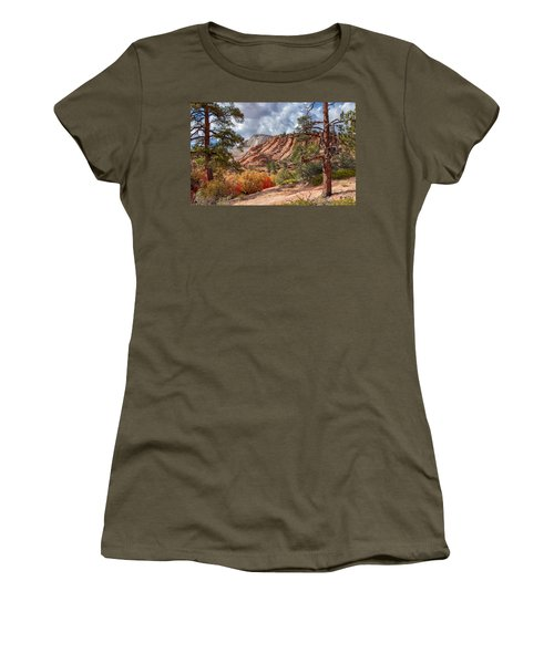 Women's T-Shirt (Athletic Fit) featuring the photograph Color Competition At Zion National Park by John M Bailey