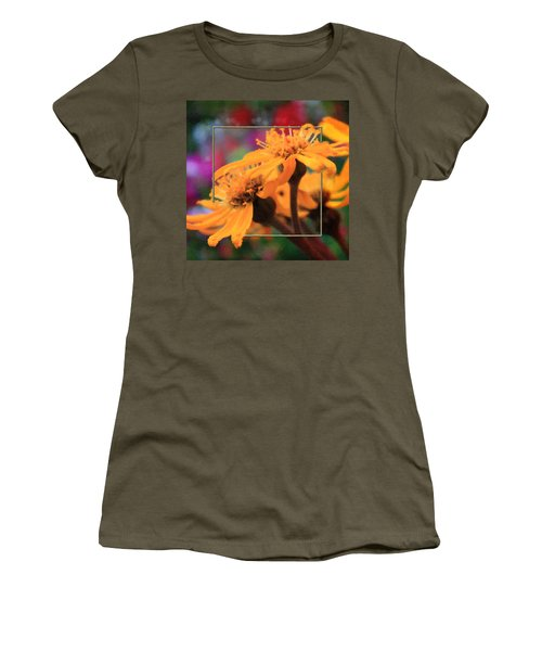 Women's T-Shirt (Junior Cut) featuring the photograph Color Pizzaz With Collaged Textures by Sandra Foster