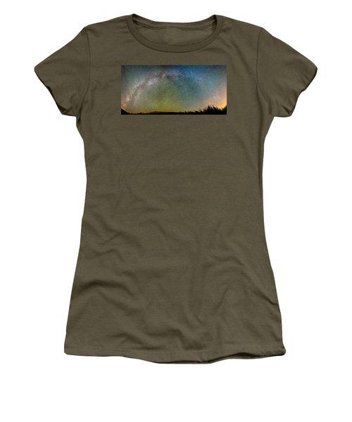 Colorado Indian Peaks Milky Way Panorama Women's T-Shirt