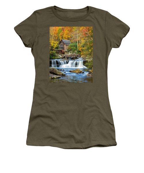 Colorful Autumn Grist Mill Women's T-Shirt (Athletic Fit)