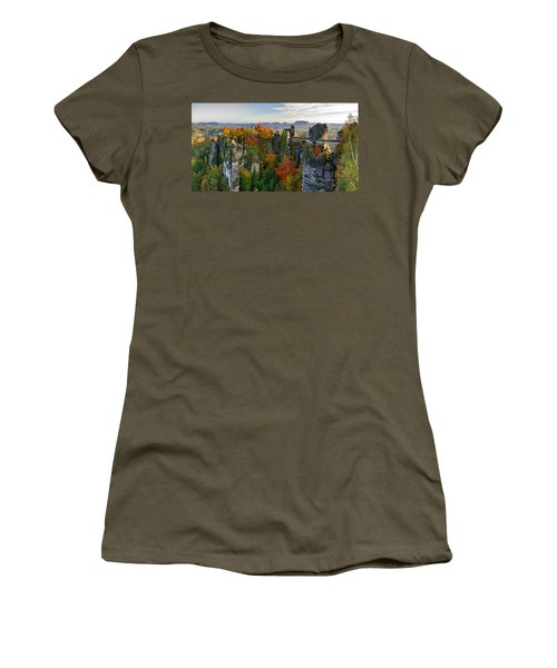Colorful Bastei Bridge In The Saxon Switzerland Women's T-Shirt