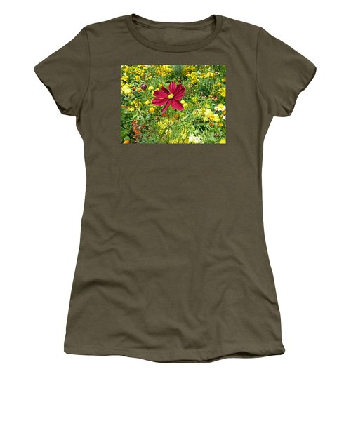 Colorful Flower Meadow With Great Red Blossom Women's T-Shirt