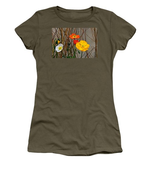 Colorful Poppies And White Willow Stems Women's T-Shirt