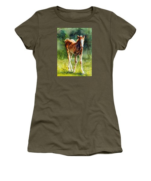 Women's T-Shirt (Junior Cut) featuring the painting Colt In Green Pastures by Bonnie Rinier