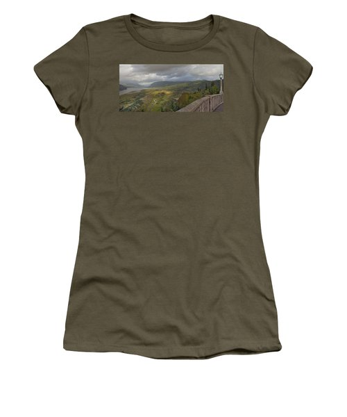 Women's T-Shirt (Junior Cut) featuring the photograph Columbia River Gorge View From Crown Point by JPLDesigns
