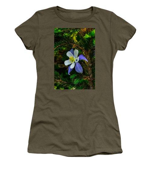 Columbine Flower And Pine Tree Women's T-Shirt