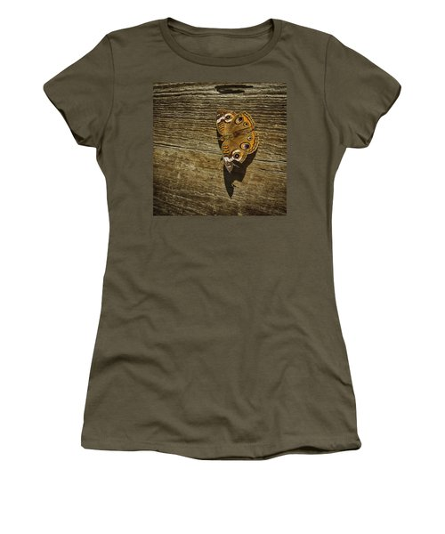 Women's T-Shirt (Junior Cut) featuring the photograph Common Buckeye With Torn Wing by Lynn Palmer