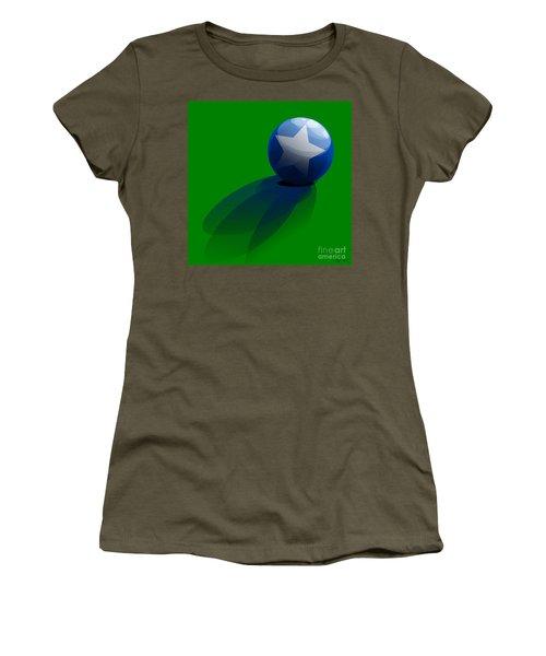 Women's T-Shirt (Junior Cut) featuring the digital art Blue Ball Decorated With Star Grass Green Background by R Muirhead Art