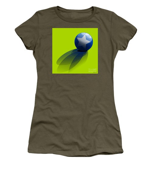 Women's T-Shirt (Junior Cut) featuring the digital art Blue Ball Decorated With Star Green Background by R Muirhead Art