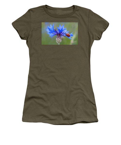 Women's T-Shirt (Junior Cut) featuring the photograph Cornflower Ladybug Siebenpunkt Blue Red Flower by Paul Fearn