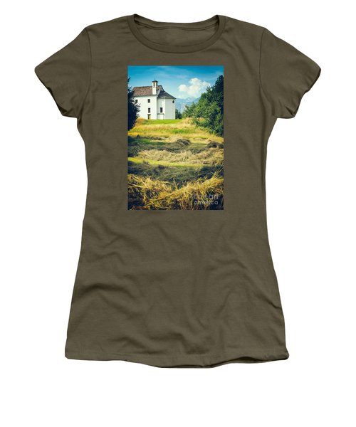 Women's T-Shirt (Junior Cut) featuring the photograph Country Church With Hay by Silvia Ganora