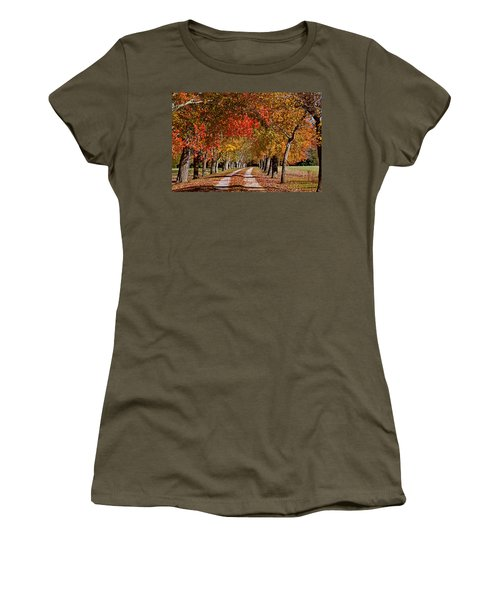 Women's T-Shirt (Junior Cut) featuring the photograph Country Lane In Autumn by Jerry Gammon