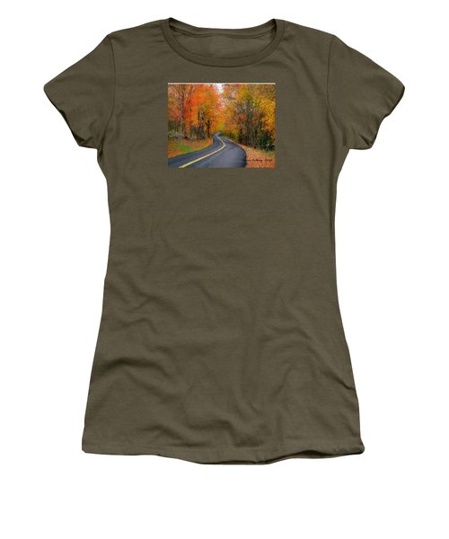 Women's T-Shirt (Junior Cut) featuring the painting Country Road In Autumn by Bruce Nutting
