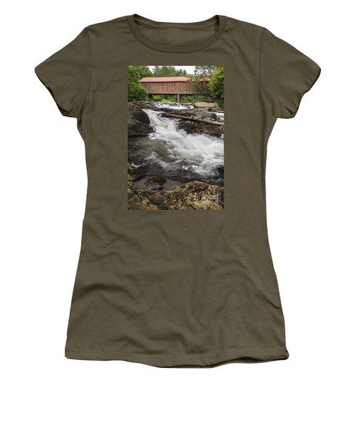 Covered Bridge And Waterfall Women's T-Shirt