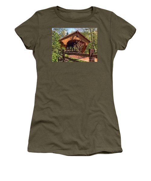 Covered Bridge At Olmsted Falls-spring Women's T-Shirt