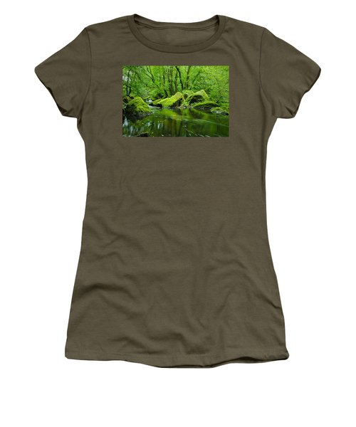 Creek In The Woods Women's T-Shirt (Junior Cut) by Chevy Fleet