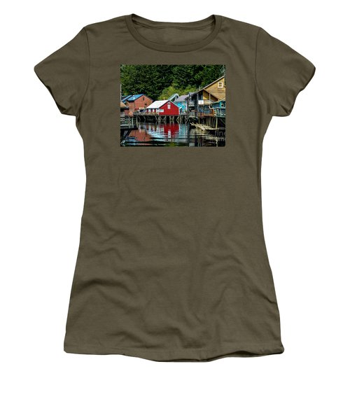 Creek Street - Ketchikan Alaska Women's T-Shirt (Junior Cut) by Debra Martz