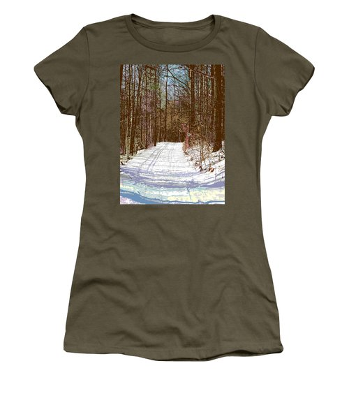 Women's T-Shirt (Junior Cut) featuring the photograph Cross Country Trail by Nina Silver