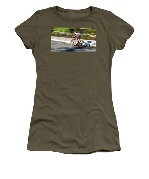 Women's T-Shirt (Junior Cut) featuring the photograph Cyclist Racing The Clock by Kevin Desrosiers