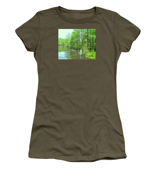 Bright Green Cypress Trees Reflection Women's T-Shirt (Junior Cut) by Belinda Lee
