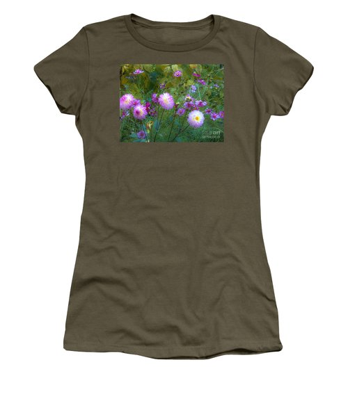 Women's T-Shirt (Junior Cut) featuring the photograph Dahlias And Cosmos  by Judy Via-Wolff