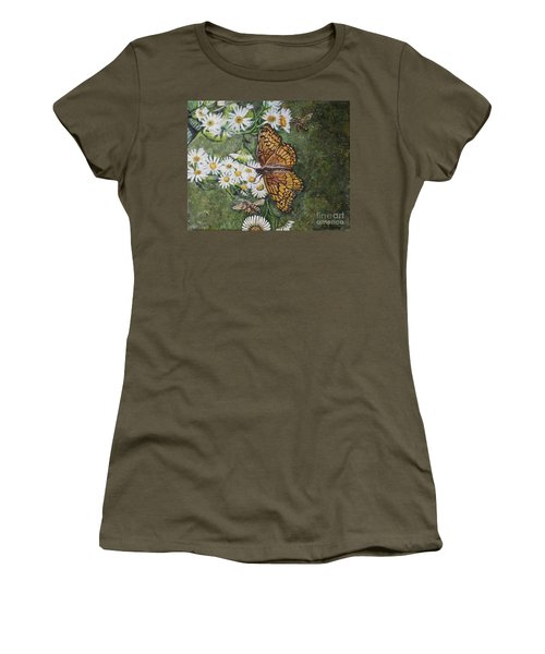 Women's T-Shirt (Junior Cut) featuring the painting Dance With The Daisies by Kimberlee Baxter