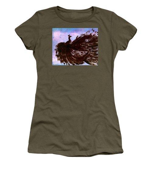 Women's T-Shirt (Junior Cut) featuring the digital art Dancing Peacock Blue Pink Wash by Anita Lewis