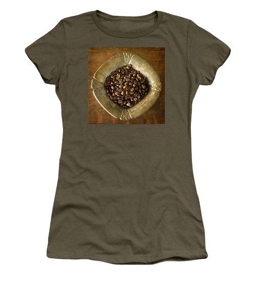 Dark Roast Coffee Beans And Antique Silver Women's T-Shirt