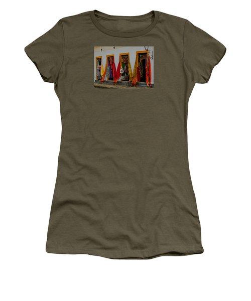 Women's T-Shirt (Junior Cut) featuring the photograph Decorated Doorways by Nareeta Martin