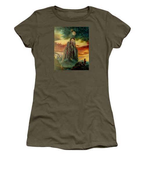 Women's T-Shirt (Junior Cut) featuring the painting Defenders Of Rocky Desert by Henryk Gorecki