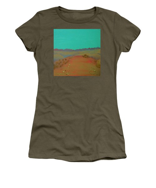 Women's T-Shirt (Junior Cut) featuring the painting Desert Overlook by Keith Thue