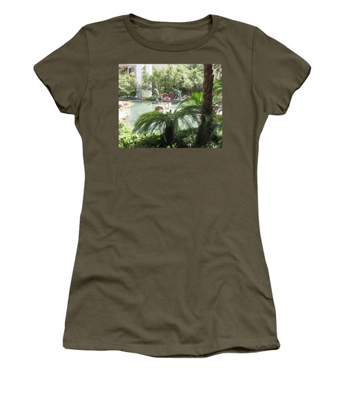 Women's T-Shirt (Junior Cut) featuring the photograph Dolphin Pond And Garden Green by Navin Joshi