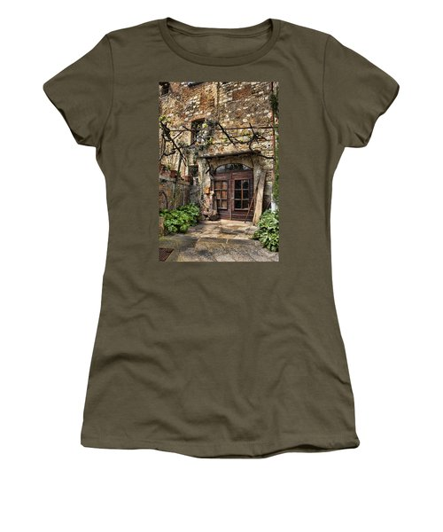 Women's T-Shirt (Junior Cut) featuring the photograph Door Montepulciano Italy by Hugh Smith