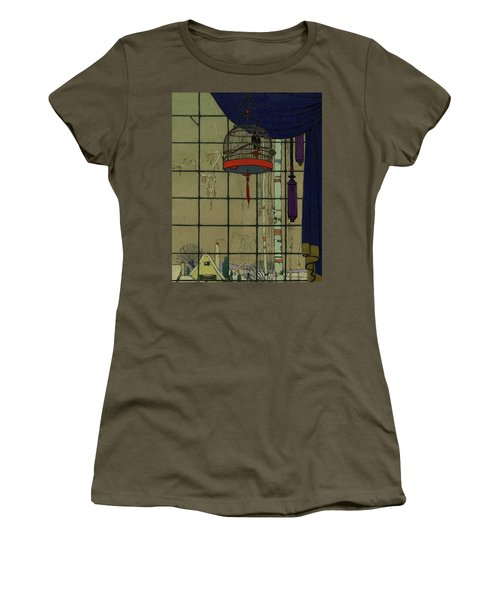 Drawing Of A Bid In A Cage In Front Of A Window Women's T-Shirt