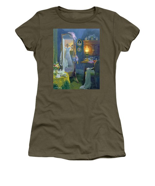 Dressing Room Victorian Style Oil On Board Women's T-Shirt