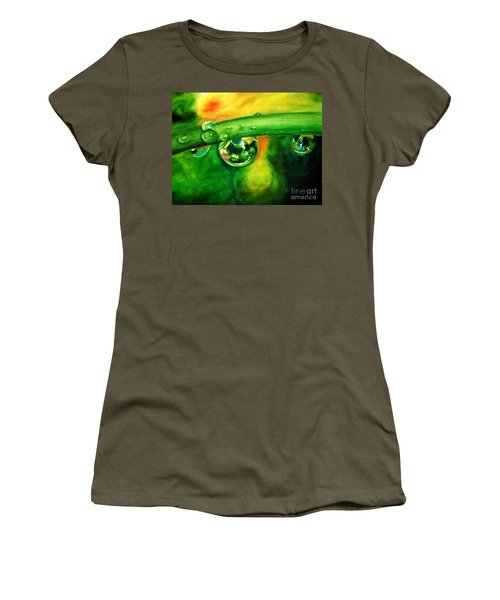 Women's T-Shirt (Junior Cut) featuring the painting Droplets by Allison Ashton