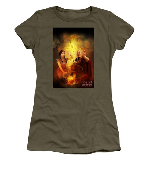 Women's T-Shirt (Junior Cut) featuring the painting Drum Story Elders Teaching by Rob Corsetti