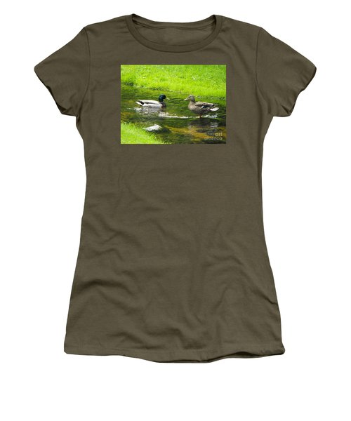 Duck Couple Women's T-Shirt (Athletic Fit)