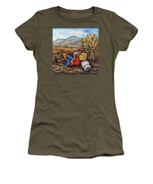 Women's T-Shirt (Junior Cut) featuring the painting During The Break by Xueling Zou